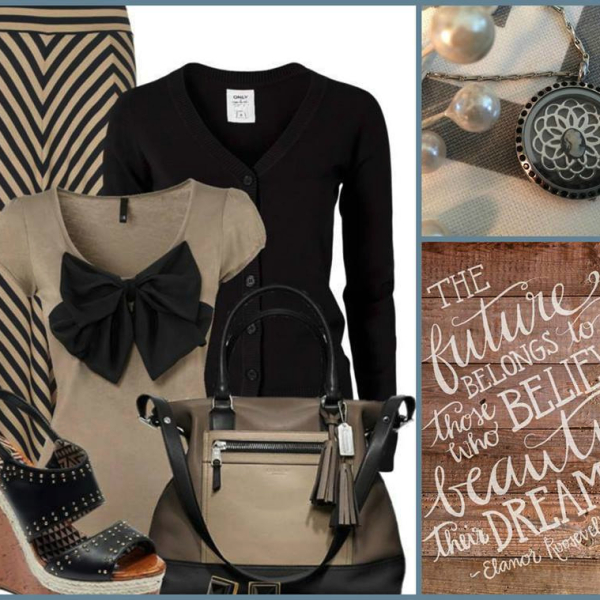 Fashion career ensable with locket from South Hill Designs