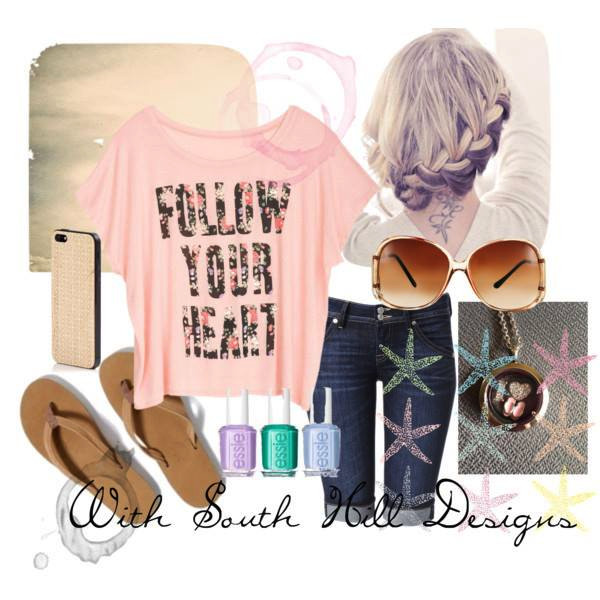 Fashion heart locket with casual accessories from South Hill Designs