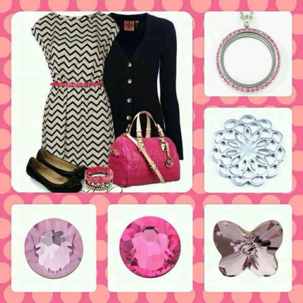 Fashion fuschia locket with accessories from South Hill Designs