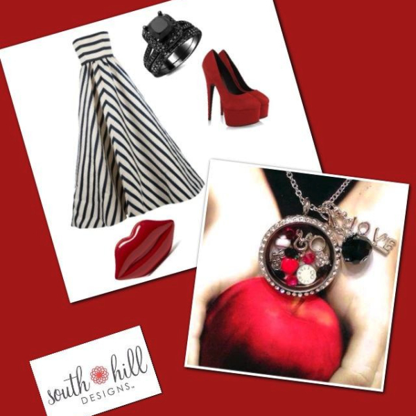 Fashion silver, red, and black locket with accessories from South Hill Designs